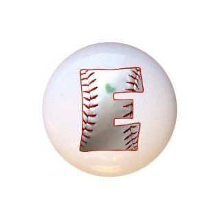 Baseball Alphabet Letter E Drawer Pull Knob   Cabinet And Furniture Knobs