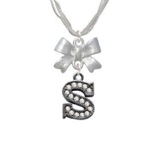Crystal Black Letter   S   Beaded Border Emma Bow Necklace [Jewelry]: Pendant Necklaces: Jewelry