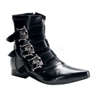"Previously Sold but brand new, 1"" Heel, Blk Winklepicker Beatle boot w/ Skull Buckles Size: 10: Shoes"