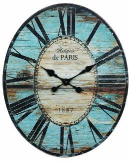 Creative Co op Antiquite De Paris Wood Oval Wall Clock, 29.5 by 24 1/4 Inch   Wall Clocks Large
