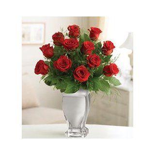 Flowers by 1800Flowers   Red Premium Long Stem Roses in Silver Vase  Fresh Cut Format Rose Flowers  Grocery & Gourmet Food