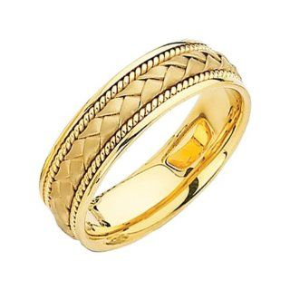 *** LASER ENGRAVING SERVICE *** 14K Yellow Gold 6mm Braided Rope Comfort Fit Handbraided Designer Wedding Band Ring for Men & Women [DETAIL INFORMATION   PLEASE CLICK AND CHECK THE ITEM DESCRIPTION]: The World Jewelry Center: Jewelry