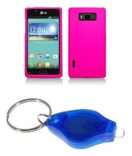 Hot Pink Hard Cover Case + ATOM LED Keychain Light for LG Optimus Showtime: Cell Phones & Accessories