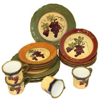Napa Vineyard Hand Painted 16 Piece Dinnerware Set   Serving for 4 Tuscan Plates Kitchen & Dining