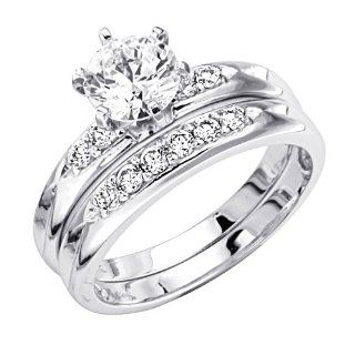 .925 Sterling Silver Round cut CZ Cubic Ziconia Solitaire with side stone Ladies Engagement Ring and Wedding Band 2 Two Piece Set (Size 5 to 9): GoldenMine: Jewelry
