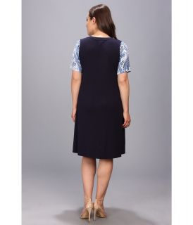 Karen Kane Plus Plus Size Blue Paisley T Shirt Dress Blue
