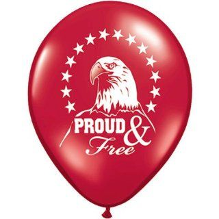 "Set of 12 Proud & Free 11"" Latex Balloons Patriotic Eagle   Party Balloons"