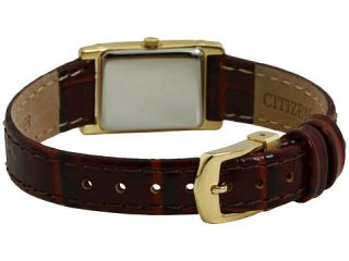 Citizen Watches Eco Drive Leather Strap Watch EW8282 09P Gold Tone with Brown Leather Strap