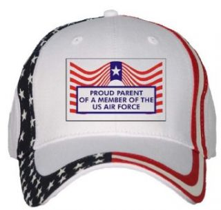 PROUD PARENT OF A MEMBER OF THE US AIR FORCE USA Flag Hat / Baseball Cap: Clothing