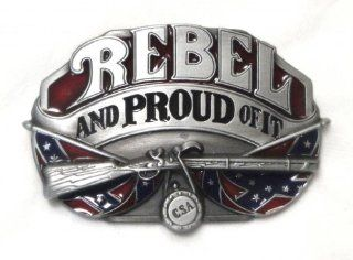 REBEL and PROUD OF IT with Confederate Flag Background Belt Buckle : Other Products : Everything Else