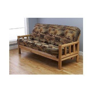 "Futon Frame and Full Size Mattress Set. This Rustic Log Frame Sofa Set Easily Converts to Full size Bed. Nice. The Wildlife Upholstery Is Great in Hunting Cabin, Cottage or Log Home. 8"" Thick Sleeper Provides Comfy Sleeping on Natural Lodge Furniture."