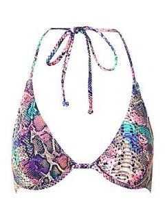 Bikini Lab Rolling heat snake print uw triangle top Multi Coloured