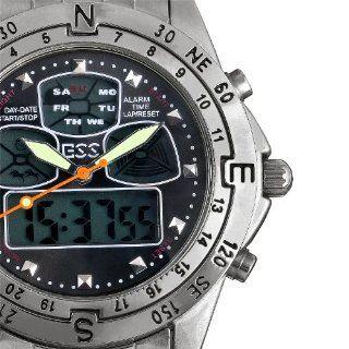 ESS Men's Black Dial Stainless Steel Analog Digital Dual Watch WM005 ESS ESS Watches