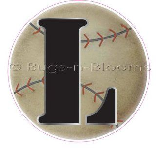 """L"" Baseball Alphabet Letter Name Wall Sticker (5 1/2"" Diameter)   Decal Letters for Children's, Nursery & Baby's Sport Room Decor, Baby Name Wall Letters, Boys Bedroom Wall Letter Decorations, Child's Names. Sports Balls Mur"