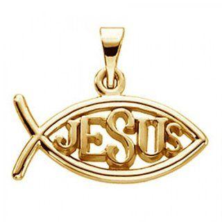 Unisex 14k Yellow Gold Jesus Fish Pendant   11mm   New: Jewelry