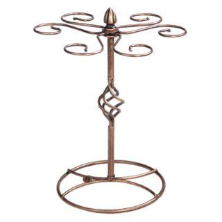Classic Elegant Bronze Metal Tabletop 6 Wine Glass Display Holder Drying Rack Stand / Air Dry System   Champagne Glasses