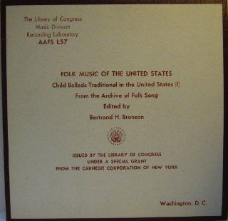Folk Music of the United States Child Ballads Traditional in the United States (I) From the Archive of American Folk Song. LP Music