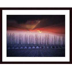 John K. Nakata 'Winter Sunset' Wood Framed Print Art Prints