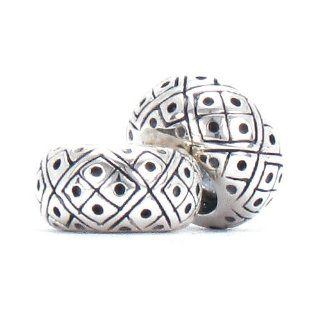 Set of 2   Bella Fascini Diamond Pattern   Solid 925 Sterling Silver European Spacer Bead Charm   Compatible Brand Bracelets : Authentic Pandora, Chamilia, Moress, Troll, Ohm, Zable, Biagi, Kay's Charmed Memories, Kohl's, Persona & more!: Bella