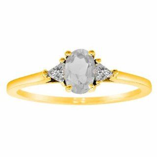 Diva Diamonds S1145WQY8 14K Yellow Gold Oval White Quartz and Triangle Trillion Diamond Ring, .75 cttw, F G, VS   Size 8: Diva Diamonds: Everything Else