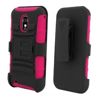 [ManiaGear] Hot Pink/Black Combat Heavy Duty Case for Samsung Galaxy S II R760/D710 Epic Touch 4G + ManiaGear Screen Protector (U.S Cellular/Sprint/Alltel/Boost Mobile): Cell Phones & Accessories