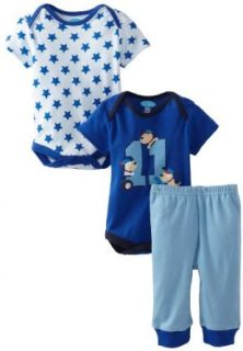 Bon Bebe Baby Boys Newborn 11 Puppy?s 3 Piece Pant Set, Cobalt/Navy/Blue, 6 9 Months: Clothing