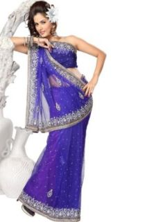 Han Purple Net Embroidered Wedding and Festival Saree in Large Size: World Apparel: Clothing