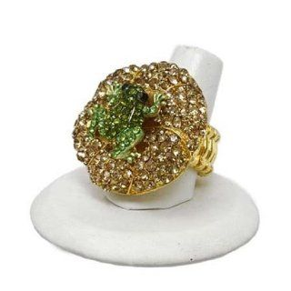 Frog Lily Pad Stretch Ring Green Amber Crystals Gold Tone 1.25 in Diameter Fashion Jewlery Jewelry
