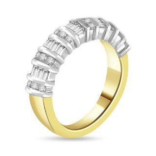 0.98 Ct Baguette & Round Cut Diamond Wedding/anniversary Band 14k Two Tone Gold: Jewelry