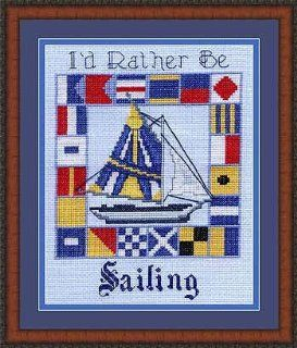 Pegasus Originals I'd Rather Be Sailing Counted Cross Stitch Chartpack   Knitting And Crochet