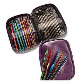 Adored   22 Multi colour Aluminum & Steel Crochet Hooks Needles Yarn Weave Knit Craft Set In Case Toys & Games