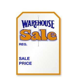 "Warehouse Sale, w/3.25"" slit, 2 clip corners, Merchandise 12pt Tag, 250 Tags / Pack, 7"" x 5"" : Blank Labeling Tags : Office Products"