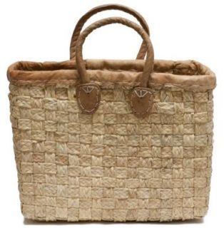 "Moroccan Straw Tote Bag w/ Leather Handles & Trim, 14.5""Lx4.5""Wx13""H   Porto Sm: Shoes"