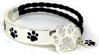 "Silver Dog Paw Print Swarovski Elements Double Strand Leather Bracelet with Paw Print Charm in a Gift Box by Jewelry Nexus ""Whoever said you can't buy happiness forgot about puppies."": Jewelry Nexus: Jewelry"