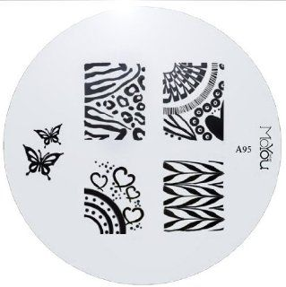 MoYou Nail Art Image Plate A95 including 7 nailart designs on metal stencil, easy to apply, amazing results, accessories for women : Nail Art Equipment : Beauty