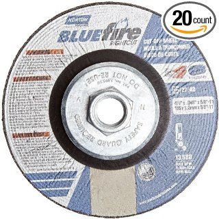 "Norton Blue Fire Right Cut Right Angle Grinder Reinforced Depressed Center Abrasive Cut off Wheel, Type 27, Zirconia Alumina, 5/8"" 11"" Hub, 4 1/2"" Diameter x 0.045"" Thickness (Pack of 10): Abrasive Cutoff Wheels: Industrial & Scient"