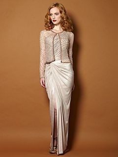 Biba Asymmetric one shoulder maxi dress Nude