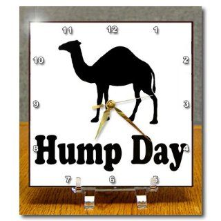 3dRose dc_159637_1 Hump Day Camel Wednesday Desk Clock, 6 by 6 Inch