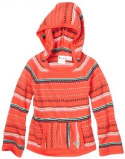 Roxy Girls 2 6X Roxy Teenie Wahine   Run Wild Hoodie Poncho, Sunset Stripe, 2T: Clothing