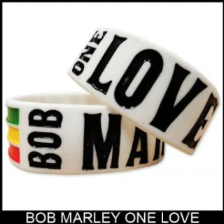 Bob Marley One Love Designer Rubber Saying Bracelet (White): Clothing
