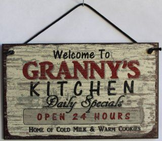 "5x8 Vintage Style Sign Saying, ""Welcome to GRANNY'S KITCHEN Daily Specials OPEN 24 HOURS Home of Cold Milk & Warm Cookies"" Decorative Fun Universal Household Signs from Egbert's Treasures"