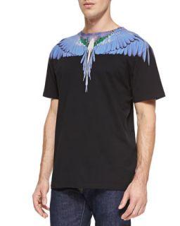 Mens Feather Print Jersey Tee, Black   Marcelo Burlon   Black (LARGE)