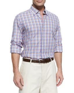 Mens Tattersall Check Button Down Shirt, Purple Multi   Purple (XXL)