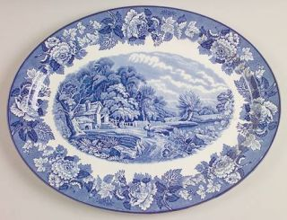Enoch Wood & Sons English Scenery Blue (Blue Backs,Smooth) 16 Oval Serving Plat