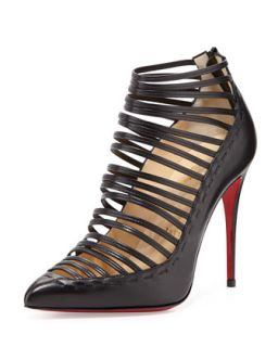 Gortik Strappy Red Sole Bootie, Black   Christian Louboutin   Black (39.5B/9.5B)