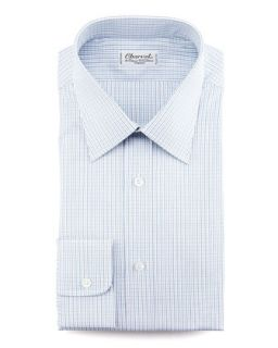 Mens Mini Check Dress Shirt   Charvet   Blue (40.5/16L)