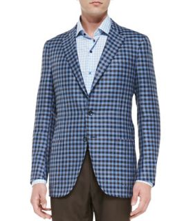 Mens Exploded Check Jacket, Blue/Brown   Isaia   Blue (41L)