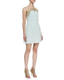 Womens Feather & Chiffon Grecian Cocktail Dress   Phoebe by Kay Unger   Mint