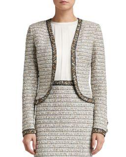 Womens Ribbon Stripe Knit Bolero Jacket with Trim   St. John Collection