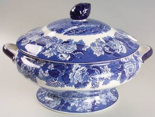 Enoch Wood & Sons English Scenery Blue (Blue Backs,Smooth) Tureen &  Lid, Fine C